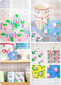 fuse beads, pegboard cross stitch, cath kidston hama beads, cross stitch flowers, perler beads