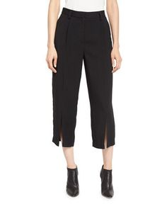 MAIYET Pleated-Front Cropped Pants, Black. #maiyet #cloth #