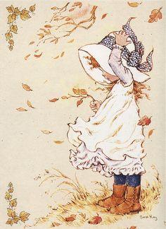 ☂Automne☂ Vent d'automne, dessin de Sarah Kay illustratrice et auteure australienne de livres pour enfants. Univers naïf et romantique.