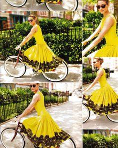 "2,102 харесвания, 8 коментара – Olivia Palermo (@oliviapalermo) в Instagram: ""#EasterSunday outfit inspo 👗🚲 Hope everyone has a nice holiday weekend!"" Vogue China, Look Vintage, Vintage Mode, Vintage Yellow, Vintage Dress, Retro Dress, Pretty Dresses, Beautiful Dresses, Gorgeous Dress"