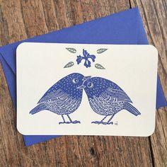 Oiseaux imprimerie carte avec deux oiseaux et par ViktoriaAstrom