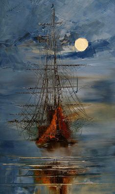 A Ship in the Night ~ Art in Brown and Blue