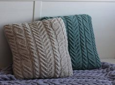 Green or beige sweater pillow throw hand knitted pillow