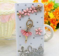 Bling Diamonds Ballet Wallet Card Holder PU Leather Flip Case Cover for LG phone #UnbrandedGeneric