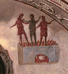 3 young men in the fiery furnace, from an early christian catacomb. Mycenaean, Minoan, Early Christian, Christian Art, Fresco, Tempera, Fiery Furnace, Empire Romain, Greek Gods And Goddesses