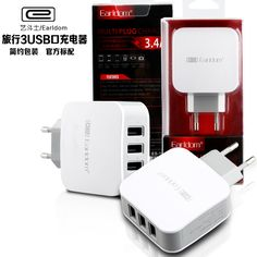 Earldom Fast Charging 5V 3.4A 3-Port USB Home Travel Wall Charger AC Charger Adapter For Cell Phone Tablet (EU Plug )