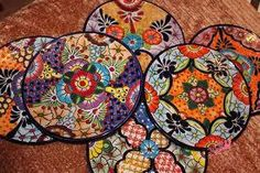 Talavera place mats by La Tienda Store at www. Mexican Home Decor, Talavera Pottery, Some Pictures, Destination Wedding, Place Mats, Cozumel, Statue, Wood Carvings, Tablescapes