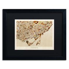 Toronto Street Map II by Michael Tompsett Framed Graphic Art in Black