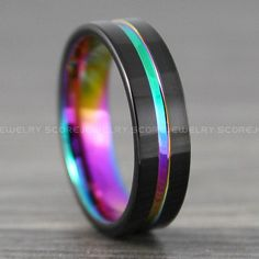 Women/'s Stainless Steel Rainbow Epoxy Hearts Design Dome Band Ring Width 6MM