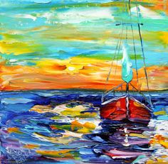 Original Oil Painting Red Sailboat Sunset modern palette knife impressionism oil on canvas fine art by Karen Tarlton