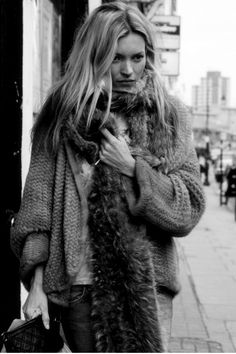 Kate. My grey knit w rabbit fur long scarf w long chunky sweaters...messy waves