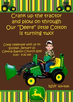 Made this invitation for a friend's son's birthday party - John Deere Theme