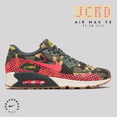 #nike #nikeairmax #jcrd #jacquard #AM90  Nike 'JCRD' Pack - JCRD Camo is back! This time the Air Max 90, Air Max Thea and the Internationalist will get the Jacquard makeover. The women's only sneaker got a multicolor camo and uses pink dots instead of the normal mudguard.  Releases 11.12.2015 at 09:00 AM! | AM 90 priced at 149.95 | AM Thea priced at 129.95 | Internationalist priced at 119.95 | Wmns sizes 35.5 - 40.5 EU
