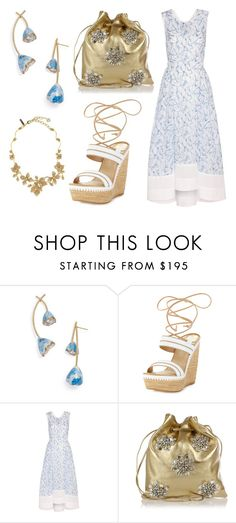 """Summer Golden Blue"" by leiastyle on Polyvore featuring Tory Burch, Stuart Weitzman, Miu Miu, Oscar de la Renta, gold, Blue and tulip"