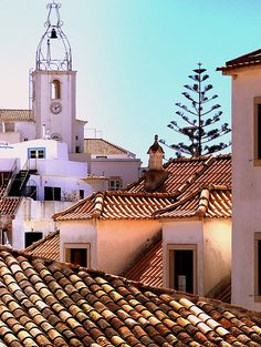 Over the roofs , the church in the old town