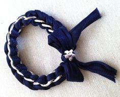 bracciale in fettuccia e catena con charms