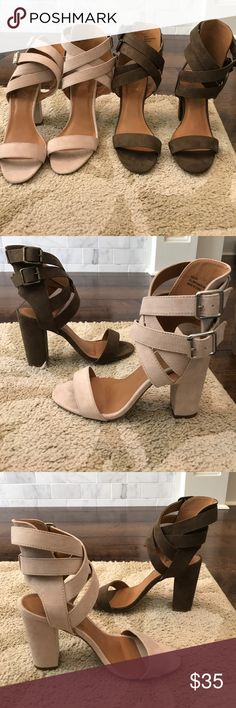Charlotte Russe- Strappy Heels- NWOT Super cute brown heels. Perfect for dressing up any outfit! Adjustable straps around the ankles. Heel height measures 4 inches. Size: 7. Brand new, never worn. Charlotte Russe Shoes Heels