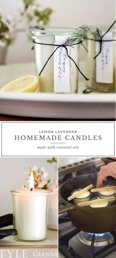 Learn how to make homemade candles with essential oils! This is a great DIY candle recipe using lavender and lemon essential oils! Diy Candles Tutorial, Diy Candles Easy, Diy Candles Scented, Homemade Candles, Beeswax Candles, Diy Candels, Homemade Art, Diy Candle Crafts, How To Make Candels