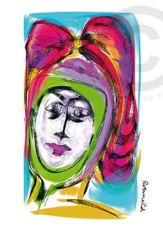 Dame en de spiegel, gemaakt door Rotmeid. Rotmeid is een Delftse kunstenaar en maakt haar illustraties digitaal. Ze schildert als het ware op een beeldscherm.