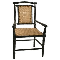 Noir Colonial Bamboo Hand Rubbed Black Arm Chair