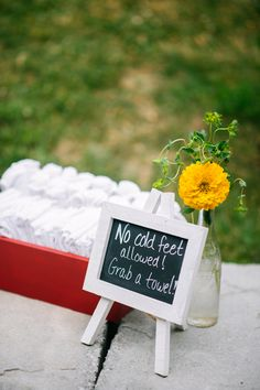 No cold feet allowed. Grab a towel!  Perfect for this outdoor sunrise wedding ceremony.