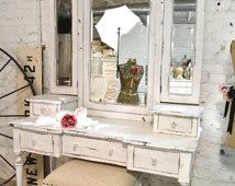 Painted Cottage Chic Shabby Romantic Vanity and Stool VAN64