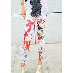 Korea Style and Stylish Scrawl Pattern Skinny Elastic Leggings