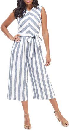 Maggy London Striped Open-Back Cropped Wide-Leg Jumpsuit Jumpsuit Dressy, Plus Size Jumpsuit, Jumpsuit Pattern, Jumpsuit Outfit, Denim Jumpsuit, Floral Jumpsuit, Mode Hijab, Suits For Women, Pretty Outfits