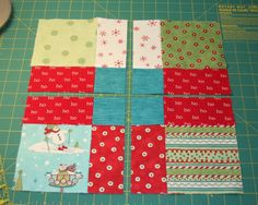 sew 9 squares together, cut as shown, rotate (or mix & match a bunch of them) and resew