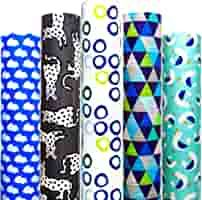 Amazon.com: Wrapping Paper 5 Roll 30 Inch X 10Feet Per Roll Design for Birthday Mother Day Valentines Day Wedding Baby Shower Blue Clouds Gull Cat Leopard Rings Triangles: Health & Personal Care Diy Christmas Wrapping Paper, Gift Wrapping Paper, Valentines Day Weddings, Creative Gift Wrapping, Blue Clouds, Xmas Holidays, Paper Gifts, Gull, Wraps