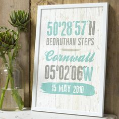Personalised Coordinate Location Print from notonthehighstreet.com