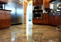 Mobil Home Improvements Flooring Info - DIY Countertop, bar top, and flooring epoxy. Refinish Countertops, Epoxy Countertop, Metallic Epoxy Floor, Diy Epoxy, Travertine, Kitchen Flooring, Interiores Design, Home Projects, Home Improvement