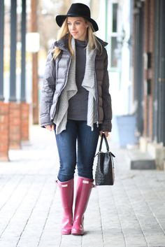 Rainy Gray: charcoal down puffer coat, black wool fedora, gray open cardigan, violet purple Hunter original tall glossy boots, Brahmin 'Small Lincoln' satchel, rainy day style, Hunter boots outfit