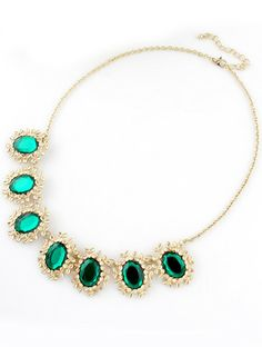 Green Gemstone Gold Flower Chain Necklace pictures