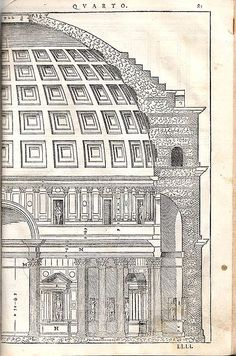 Section of the Pantheon by Andrea Palladio, from his treatise: 'I Quattro Libri dell'Architettura', Venice, 1570.
