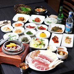 The nice thing about Korean barbecue: it comes with a ton of side dishes or banchan!
