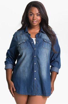 #Mynt 1792 Chambray Cargo Shirt available at #Nordstrom.  This shirt will look great for a day out with the girls of for just a quick trip to the grocrey store. if you want to always look fablous check out this wardorbe staple. #plussize