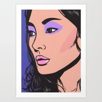Art Print featuring Purple Eyes by Turddemon Tapestry Design, Wall Tapestry, Comics Girls, Drawing Challenge, Textile Prints, All Print, Sell Your Art, Vivid Colors, Pop Art
