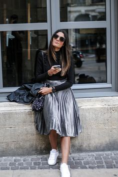 Pleated Midi Skirt + Sneakers