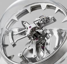 Conceived by MB&F and built by L'Épée Octopod explores aquatic themes with an eight-leg, eight-day table clock inspired by cephalopods and marine chronometers. Watch Complications, Marine Chronometer, Steampunk Clock, Mechanical Clock, Carriage Clocks, Popular Watches, New Details, Watch Brands, Cool Designs