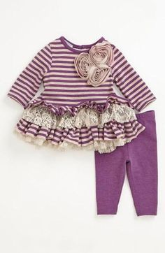 Adorable! Purple stripe top & leggings for baby