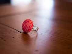 Pink floral pattern button ring. Great statement piece. Love it!