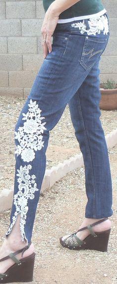 White floral embellished jean