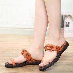 SOCOFY Flower Clip Toe Bohemia Vintage Flat Slippers For Women