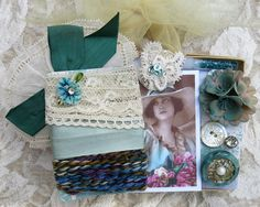 Embellishment Inspiration Kit 69, Series 2...Blue-Green, Turquoise, Aqua...Vintage & contemp. adornments for textile arts, crazy quilting...