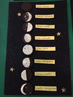 Fases de la luna, tarea, tercero de primaria, galletas oreo, foami escarchado y estrellas Earth Science Activities, Earth And Space Science, Montessori Activities, Preschool Science, Science Classroom, Teaching Science, Science Education, Science And Nature, Moon Projects