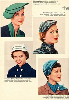 Hats really need to come back in style.   Lilly Dache hats, 1950s.