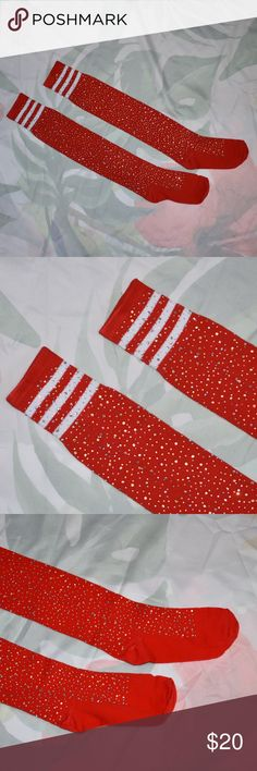 """✨NEW!✨ Super💎Sparkly High Knee Red Socks💎 Rhinestone Red Socks Above Knee  COLOR : RED, white stripes  *One size fits MOST (XXS - L) *Thigh circumference 16.5 (just above the knee on mannequin) *Total Length 32"""" (on mannequin)  I also have them in White with red and blue stripes, check out my closet!  *See  my closet policy before buying, thank 🌺  you Accessories Hosiery & Socks"""