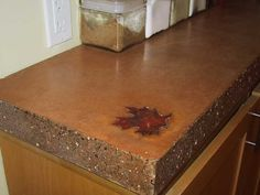 Concrete countertop with built in trivet concrete w for Homemade cleaning solution for concrete
