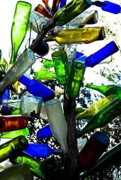 bottle tree - supposedly catch bad spirits roaming around at night, and then the spirits perish in the morning light